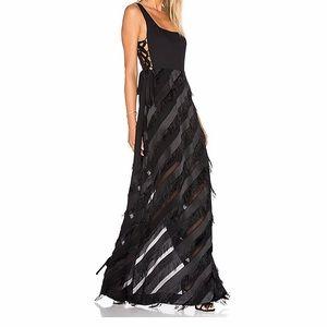 Rachel Zoe Corrina Black Fringe Gown size 4
